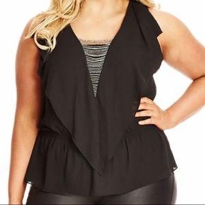 City chic black blouse size M